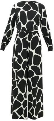 Valentino 1966 Giraffe-print Silk-crepe Jumpsuit - Womens - Black White