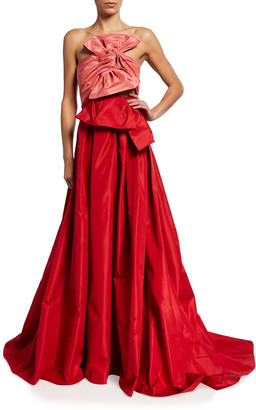 Carolina Herrera Colorblock Strapless Bow-Front Gown