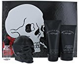 ED HARDY SKULLS & ROSES by Christian Audigier Gift Set for MEN: EDT SPRAY 3.4 OZ & HAIR & BODY WASH 4.2 OZ & AFTERSHAVE BALM 4.2 OZ & EDT SPRAY .25 OZ MINI by Ed Hardy