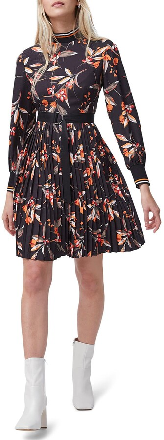 French Connection Floral Pleated Long Sleeve Dress