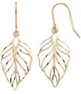 Forever 14k Forever 14K Openwork Leaf Drop Earrings