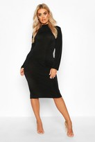 boohoo Plus Textured Slinky High Neck Midi Dress