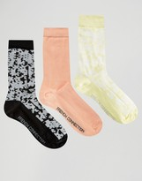 French Connection 3 Pack Print & Plain Socks