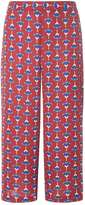 Dorothy Perkins Burgundy Acorn Print Cropped Trousers