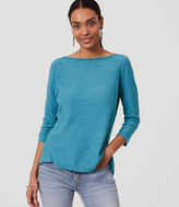 LOFT Petite Lacy Back Peplum Sweater