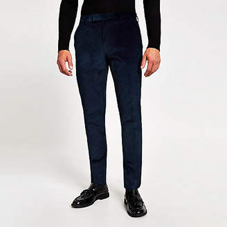 River Island Blue cord skinny suit trousers