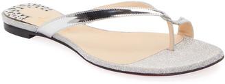 Christian Louboutin Mini Meyer Metallic Toe-Ring Red Sole Sandals