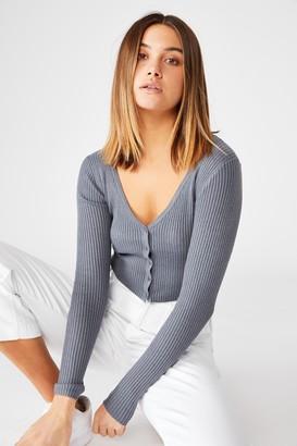 Supre Olive Long Sleeve V Neck Cardi Knit