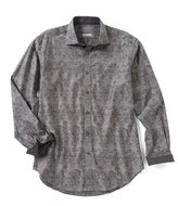 Thomas Dean Jacquard Long-Sleeve Woven Shirt