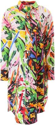 Marni Oversized Floral Print Shirt Dress
