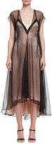 Lanvin Slip Dress with Contrast Overlay, Black