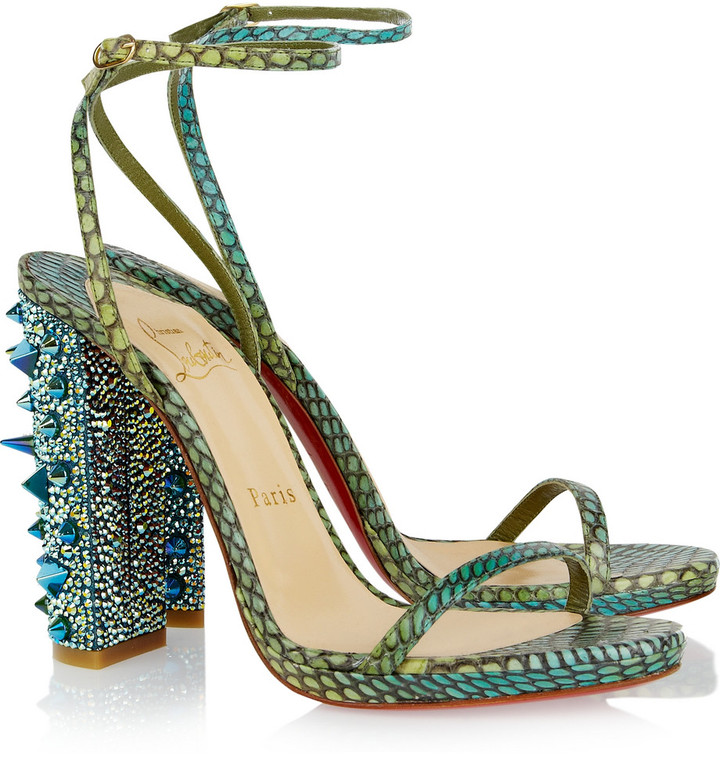 Christian Louboutin Au Palace 120 Swarovski crystal-embellished snake sandals