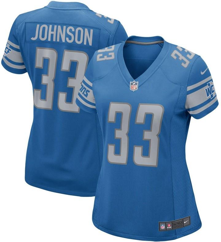 size 40 06599 7d266 Women's Kerryon Johnson Blue Detroit Lions Game Jersey