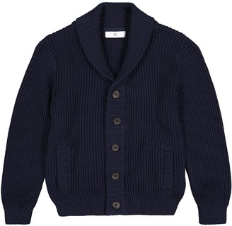 Cotton Buttoned Cardigan with Shawl-Collar, 3-12 Years