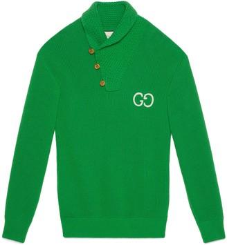 Gucci Rib knit wool polo withGG
