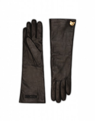Moschino Teddy Stud Long Gloves Woman Black Size 7.5