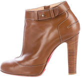 Christian Louboutin Leather Round-Toe Ankle Boots