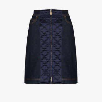 Fendi Quilted Denim Mini Skirt