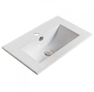 "American Imaginations 19.9"" Single Bathroom Vanity Top in White with Sink Faucet Mount: Single"