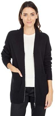 Elliott Lauren Today's Agenda Zip Front Cardigan with Patch Pocket Detail (Black) Women's Sweater