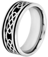 Celtic Crucible Men's Crucible Stainless Steel Carbon Fiber and Knot Design Band