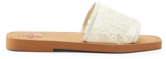 Chloé Woody Logo-lace And Leather Slides - Beige
