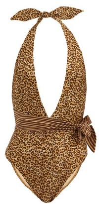 Zimmermann Empire Plunge-neck Leopard-print Swimsuit - Brown Multi
