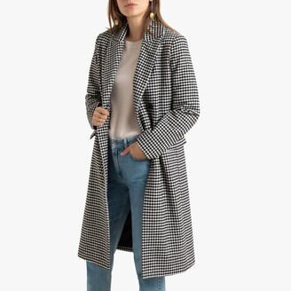 La Redoute Collections Boyfriend Houndstooth Check Coat with Double-Breasted Buttons and Pockets