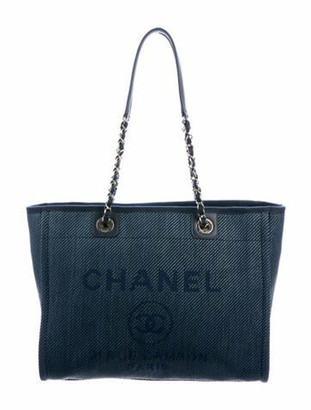 Chanel 2020 Small Deauville Shopping Bag Navy