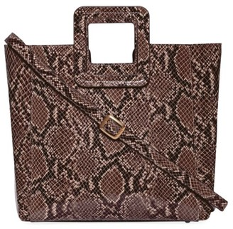 STAUD Shirley Snakeskin-Embossed Leather Tote