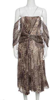 Blumarine Animal Printed Embellished Draped Silk Dress M
