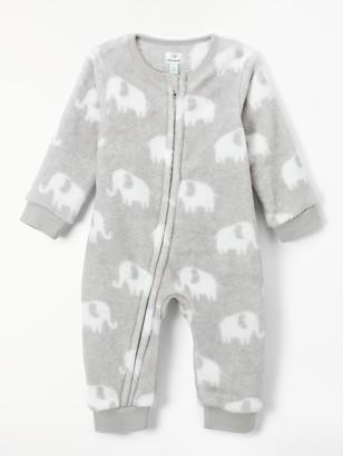 John Lewis & Partners Baby Elephant Fleece Onesie, Grey