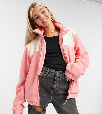 Kickers oversized jacket with chest logo in color block fleece