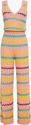 M Missoni Crochet-knit Wool And Cotton-blend Wide-leg Jumpsuit