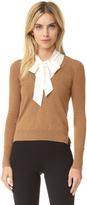 Veronica Beard Arrow Tie Neck Cashmere Sweater