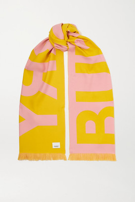 Burberry Fringed Two-tone Intarsia Wool Scarf - Pink