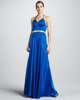 La Femme Boutique Beaded Halter Gown with Crisscross Back