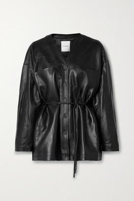 LE 17 SEPTEMBRE Belted Leather Jacket - Black