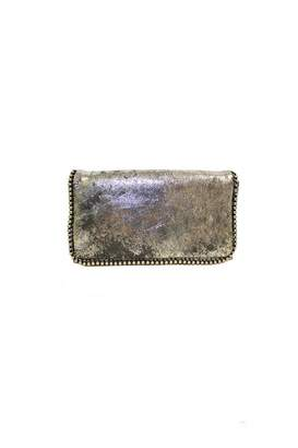 Latico Leathers Shiny-Silver Beaded-Boarder Wallet