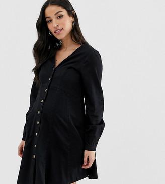 Asos DESIGN Maternity denim long sleeve button through tea dress in washed black-Blue