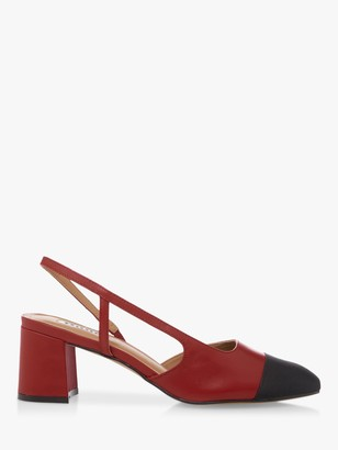 Dune Croft Leather Pointed Toe Court Shoes, Red