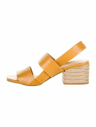 Paloma Barceló Leather Braided Accents Slingback Sandals Yellow