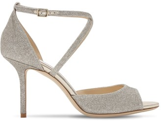 Jimmy Choo 85mm Emsy Fine Glitter Sandals