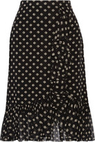 Tory Burch Indie Printed Ruffle-trimmed Silk-georgette Skirt - Black