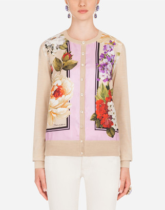 Dolce & Gabbana Floral-Print Twill And Silk Cardigan
