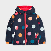 Paul Smith Girls' 7+ Years 'Spot' Print Reversible Zebra-Logo Down Jacket