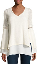 Casual Couture Layered Bell-Sleeve V-Neck Sweater, Ivory