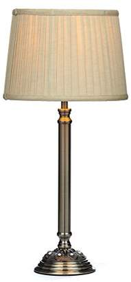 Illuminate Larissa Table Lamp With Cast Ridged Metal Stem/Glass Beads And Tapered Pleated Shade, Gold/Brass