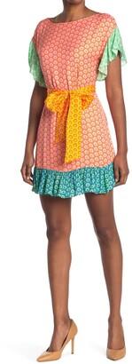 Alice + Olivia Ellamae Printed Waist Tie Dress