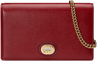 Gucci Marina Leather Flap Card Case Wallet on Chain